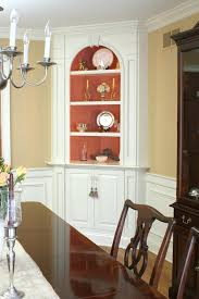 Built In Hutch Classic Dining Room With White Painted Corner Cabinet
