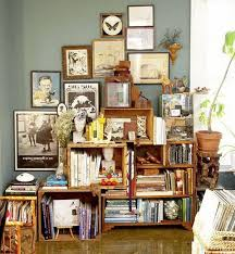 DIY Bookshelves From Wooden Crates