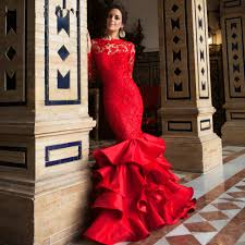 popular elegant o neck long sleeve prom dresses red lace buy cheap