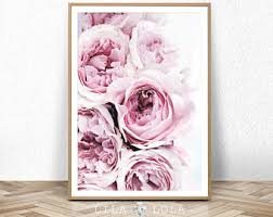 Peony Print Peonies Wall Art Blush Pastel Pink And Black Bedroom Decor Large