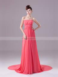 strapless long chiffon prom dress with beaded empire waist