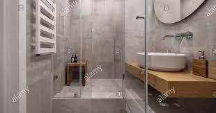 badezimmer in einem modernen stil mit strukturierter beige