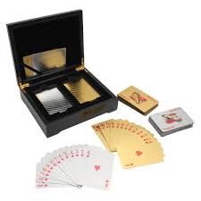 24k GoldSilver Foil Playing Cards 2 Deck Poker Brown Wooden Box