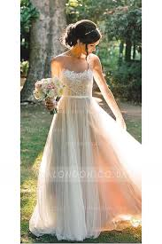 Illusion Back Lace Top Long Tulle Rustic Wedding Dress With Ribbon