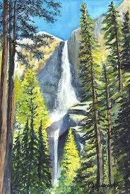 Yosemite Falls Watercolor Painting Print By Carol Wisniewski