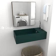 badezimmer wand waschbecken mit überlauf keramik dunkelgrün