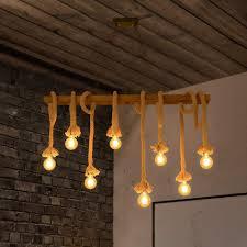 zmh pendelleuchte hängele seil retro aus holz e27 rustikal hängeleuchte kronleuchter für wohnzimmer esszimmer kaufen otto