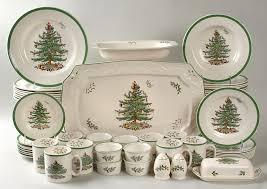 Spode Christmas Tree Green Trim 54 Piece Set At