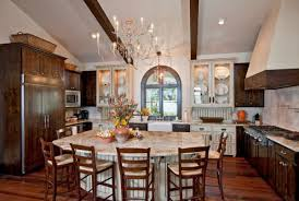 View In Gallery Mediterranean Kitchen Island And Table With Room For