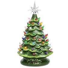 Best Choice Products SKY3037 15in Prelit Ceramic Tabletop Christmas Tree W Multicolored Lights Green