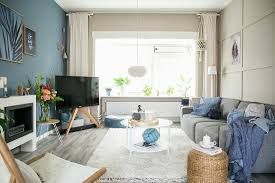 scandinavian style living room with blue buy image