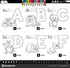 Letras Del Alfabeto De Dibujos Animados Educativos Para Colorear
