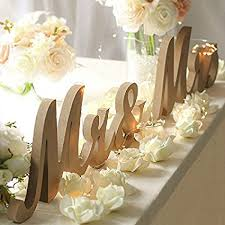 Haperlare Vintage Style Mr And Mrs Sign Wooden Letters Rustic Wedding Signs For