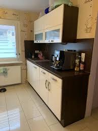 hochglanz küche creme dunkelbraun