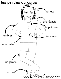 Parts Of The Body French Worksheet Human Anatomy Sketch Coloring Page
