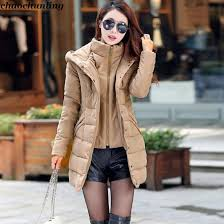2018 Winter New Japan Russia Korean Lady Hooded Long Cotton Coat With Buttons Khaki Black Rose Red And Navy Down Thick In Parkas From Womens