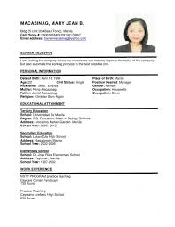 Example Of Resume Format Curriculum Vitae Sample Malaysia Inspirationa Cv For Job Application Samples Full Although