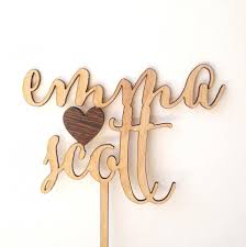 Custom Wedding Cake Topper Rustic Personalized Wooden Heart Decoration