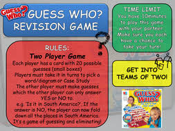 Guess Who Board Game By Teachgeogblog