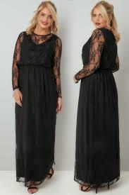 black lace long sleeve maxi dress with elasticated waist plus