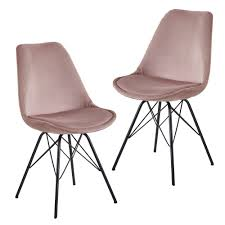 esszimmerstuhl 2er set samt rosa küchenstuhl mit schwarzen beinen schalenstuhl skandinavisches design polsterstuhl mit stoffbezug stuhl