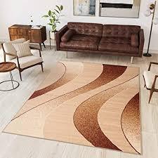 tapiso teppich wohnzimmer modern wellen streifen beige hellbraun creme leicht meliert schlafzimmer esszimmer gästezimmer ökotex 140 x 200 cm