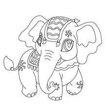 ELEPHANT Kawaii Elephant Coloring Page
