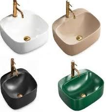 details zu waschbecken keramik aufsatz becken bad waschtisch luiza eckig 5 farben