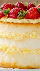 Angel Lush Angel food cake s layered with fresh strawberries and a creamy pineapple filling