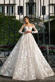 Gorgeous Lace Embroidery Long Princess Blush Wedding Dress With Sleeves