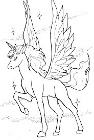Coloringsco Realistic Flying Unicorn Coloring Pages