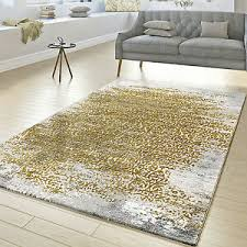details zu designer teppich wohnzimmer kurzflor teppich florale ornamente grau gold gelb