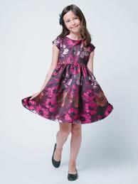 plum large floral embroidered brocade dress junior bridesmaid