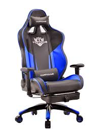 HAPPYGAME High-Back Large Size Gaming Chair With Footrest Computer Swivel  Office Chair - OS7702 (Black/Blue)