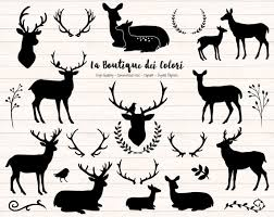 Black Deer Silhouette Clipart Cute Graphics PNG Christmas Head Doe Fawn Antlers Rustic Wedding Clip Art Commercial Use From LaBoutiqueDeiColori