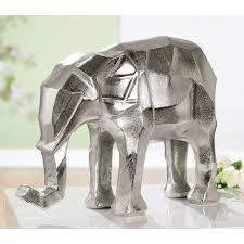 gilde dekofigur elefant angular silberfarben dekoobjekt tierfigur höhe 25 cm aus metall wohnzimmer