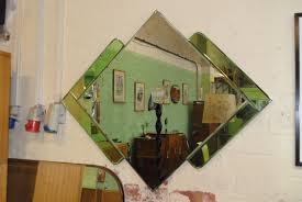 100 Art Deco Shape Mirror With Green Glass Diamond Cloud 9