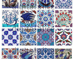 digital paper iznik tiles set 02 seamless turkish