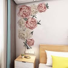 großhandel große rosa pfingstrosen blumen wand aufkleber romantische blumen wohnkultur für schlafzimmer wohnzimmer diy vinyl wandaufkleber