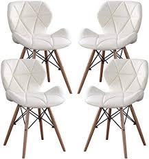 mifi 4er set esszimmerstühle esszimmerstuhl aus massivem naturholz moderner stuhl mit pu kissen rundes holzbein moderner stuhl für wohnzimmer küche