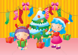 Girls Decorating Christmas Tree Vector Graphic