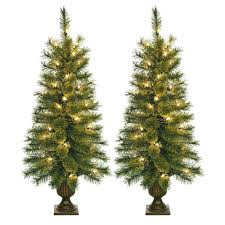 3 Pre Lit Artificial Christmas Trees Foot Tree With Plastic Pot Stand Set Of Piece