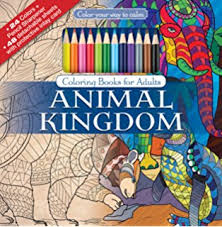 Animal Kingdom Adult Coloring Book Set With 24 Colored Pencils And Pencil Sharpener Included Color