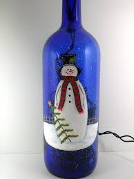 Decorative Wine Bottles With Lights by Lighted Wine Bottle Cobalt Blue Snowman Hand Painted 1 5 L U2026 Flickr