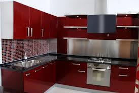 Red Themed N Kitchen Design For Small Space Style Kutsko Modular Designs Photos Simple Photo Gallery Modern Images L Shaped Catalogue Kitchens Bathroom