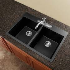 Overmount Double Kitchen Sink by Radius Drop In Granite 33 In 1 Hole Equal Double Bowl Kitchen
