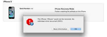 How to restore my iPhone when iTunes keeps returning an error 2001