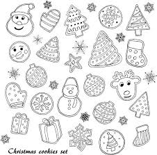christmas cookies set vector art illustration