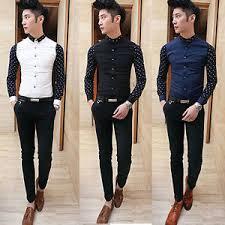 Image Is Loading Fashion Mens Stylish Casual Dress Slim Fit T