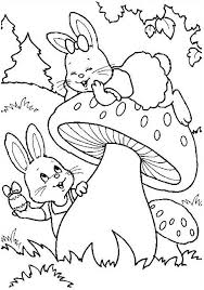 Easter Bunny Found An Egg Near Giant Mushroom Coloring Page